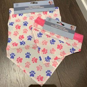 NEW 2pk pet bandannas paw print cute cat dog